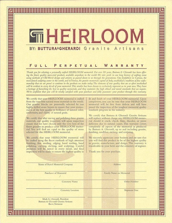 Heirloom Warranty